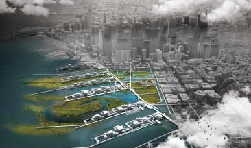 Aerial view of the project site in 2075